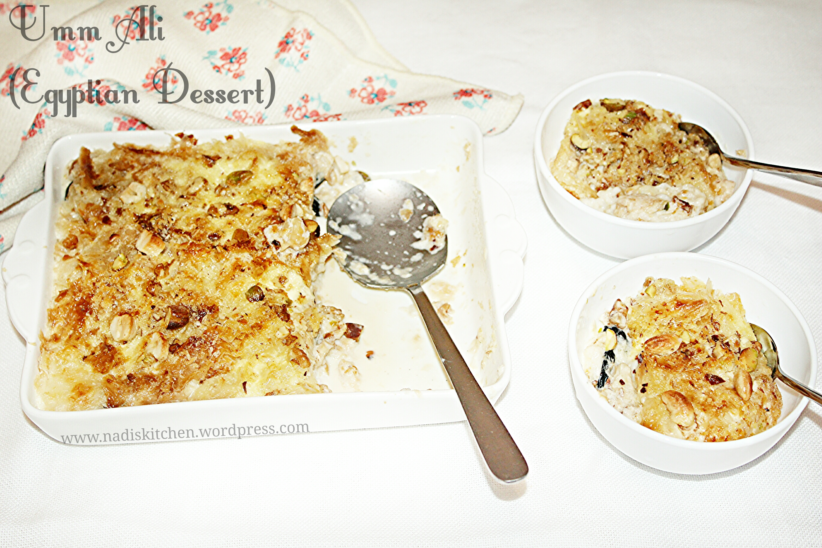 Umm ali (Egyptia dessert with puff pastry)