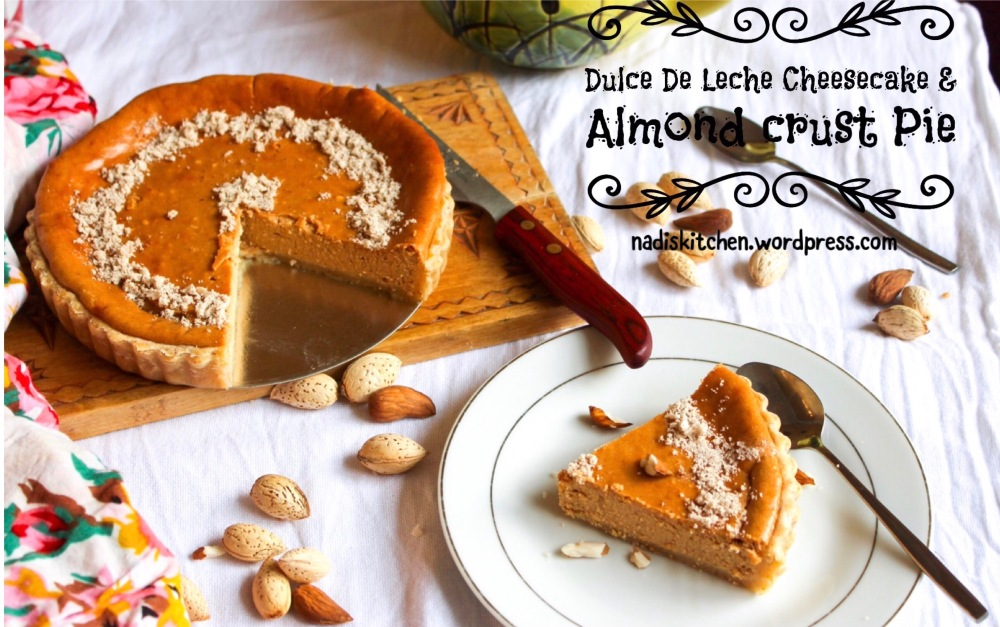Dulce de leche cheesecake & almond crusted pie