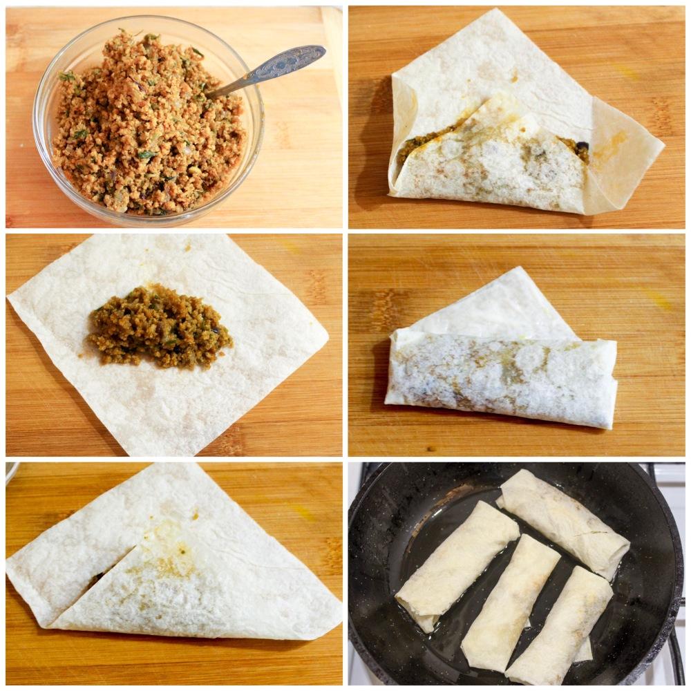 Minced meat lavash roll (Kheema roll)