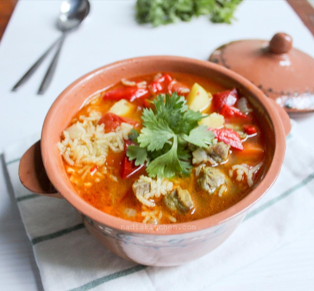 Uzbek soup Mastava (Rice and meat soup)