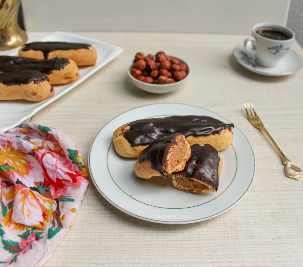 eclair with hazelnut praline custard/pastry cream